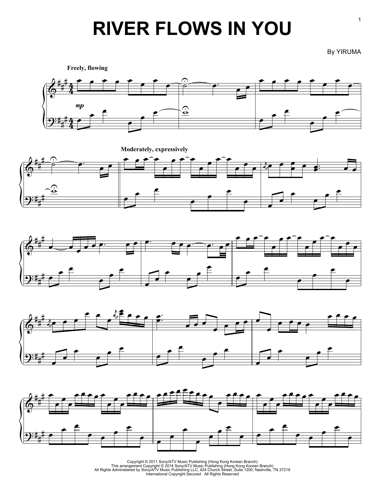Yiruma River Flows In You sheet music notes and chords. Download Printable PDF.