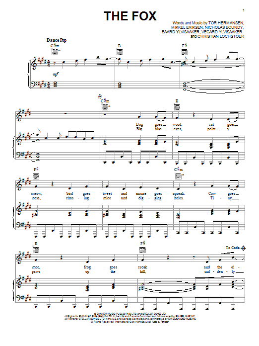 Ylvis The Fox sheet music notes and chords. Download Printable PDF.