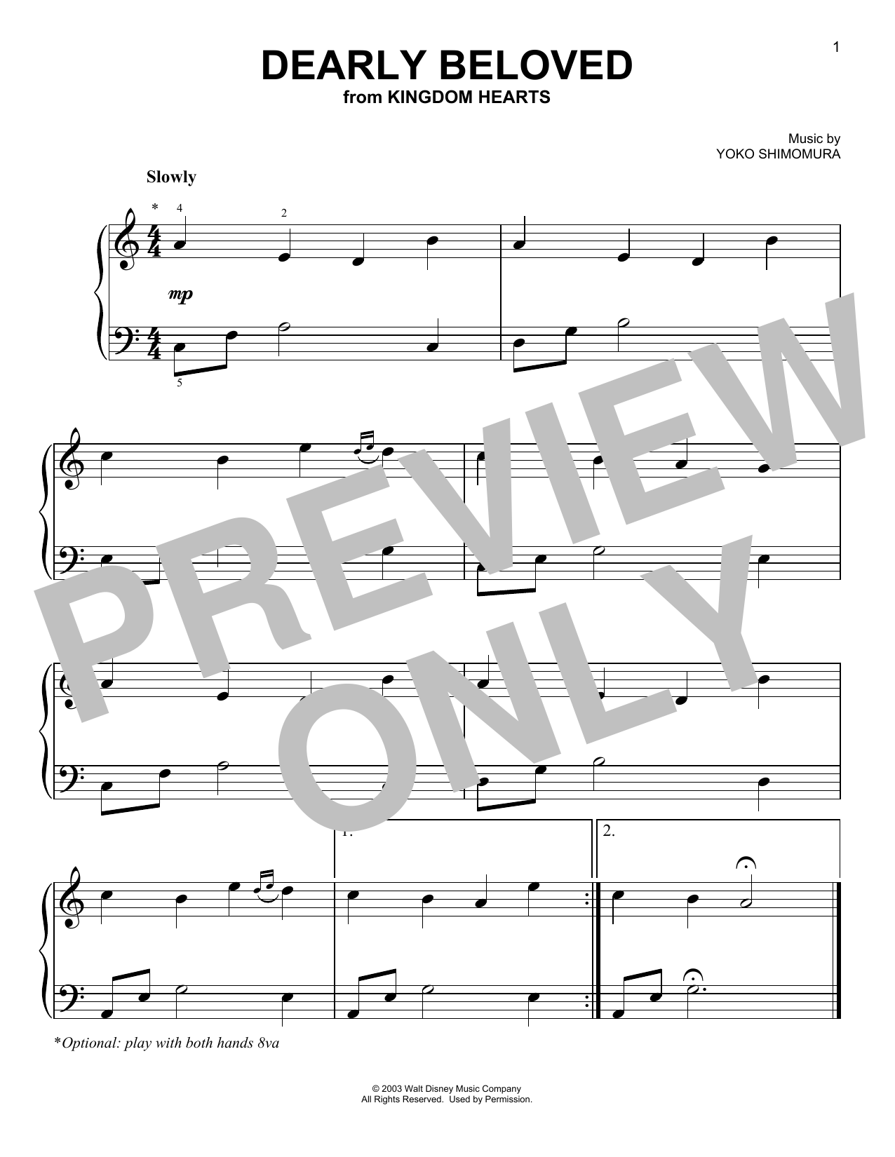 Yoko Shimomura Dearly Beloved (from Kingdom Hearts) sheet music notes and chords. Download Printable PDF.