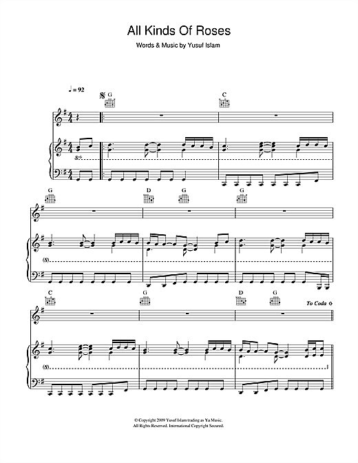 Yusuf Islam All Kinds Of Roses sheet music notes and chords. Download Printable PDF.