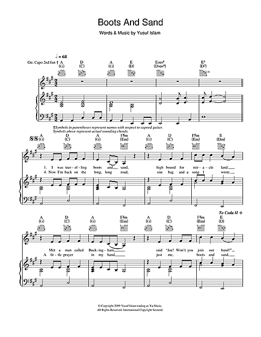 Yusuf Islam Boots And Sand sheet music notes and chords. Download Printable PDF.