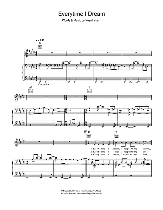 Yusuf Islam Everytime I Dream sheet music notes and chords. Download Printable PDF.