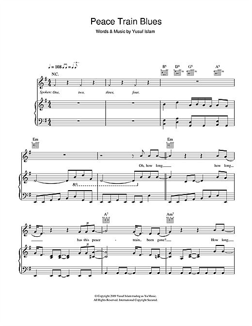 Yusuf Islam Peace Train Blues sheet music notes and chords. Download Printable PDF.