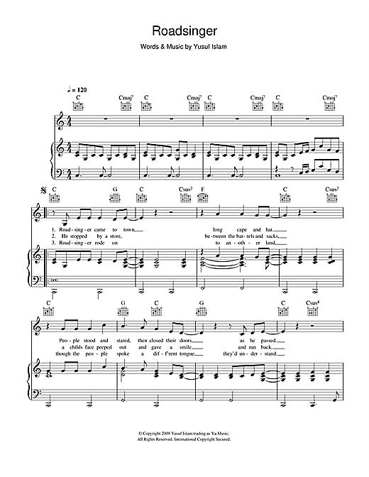 Yusuf Islam Roadsinger sheet music notes and chords. Download Printable PDF.