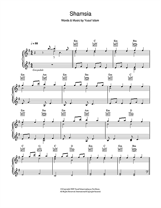 Yusuf Islam Shamsia sheet music notes and chords