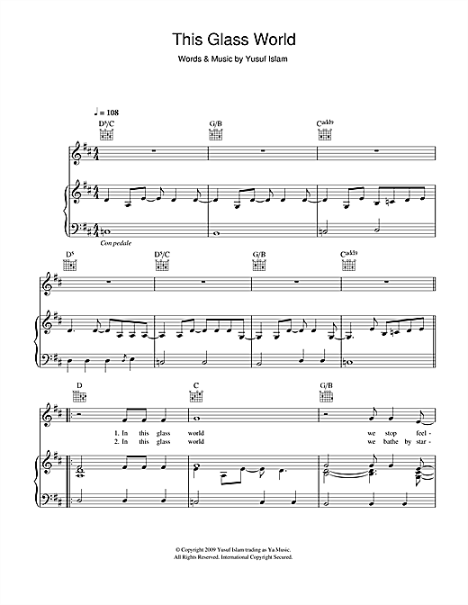 Yusuf Islam This Glass World sheet music notes and chords. Download Printable PDF.