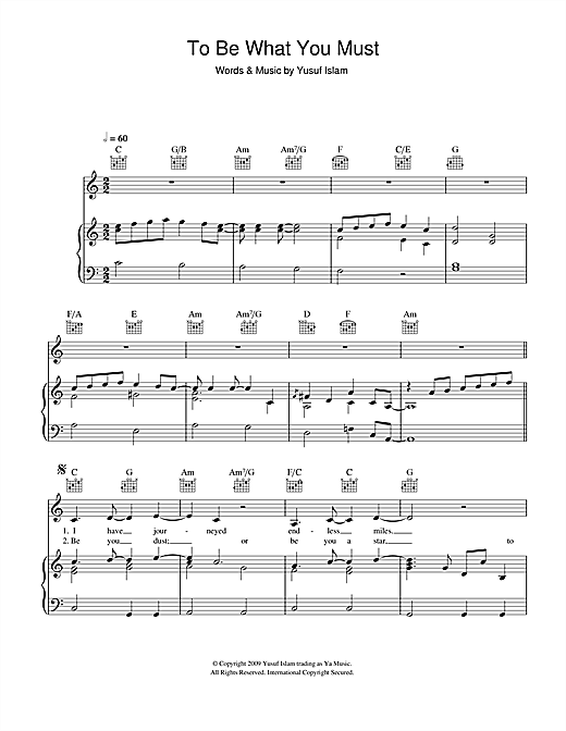 Yusuf Islam To Be What You Must sheet music notes and chords. Download Printable PDF.
