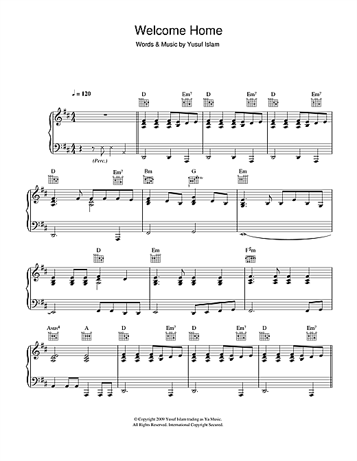 Yusuf Islam Welcome Home sheet music notes and chords. Download Printable PDF.