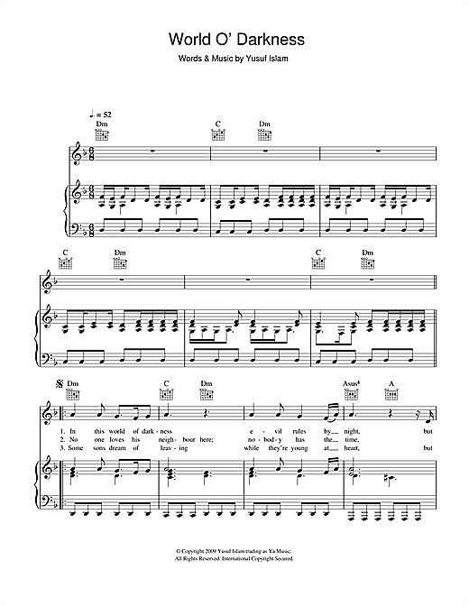 Yusuf Islam World O' Darkness sheet music notes and chords. Download Printable PDF.