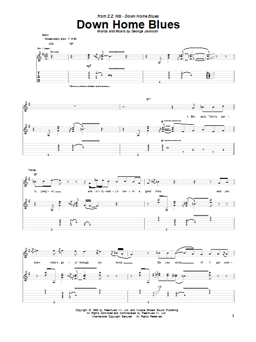 Z.Z. Hill Down Home Blues sheet music notes and chords. Download Printable PDF.