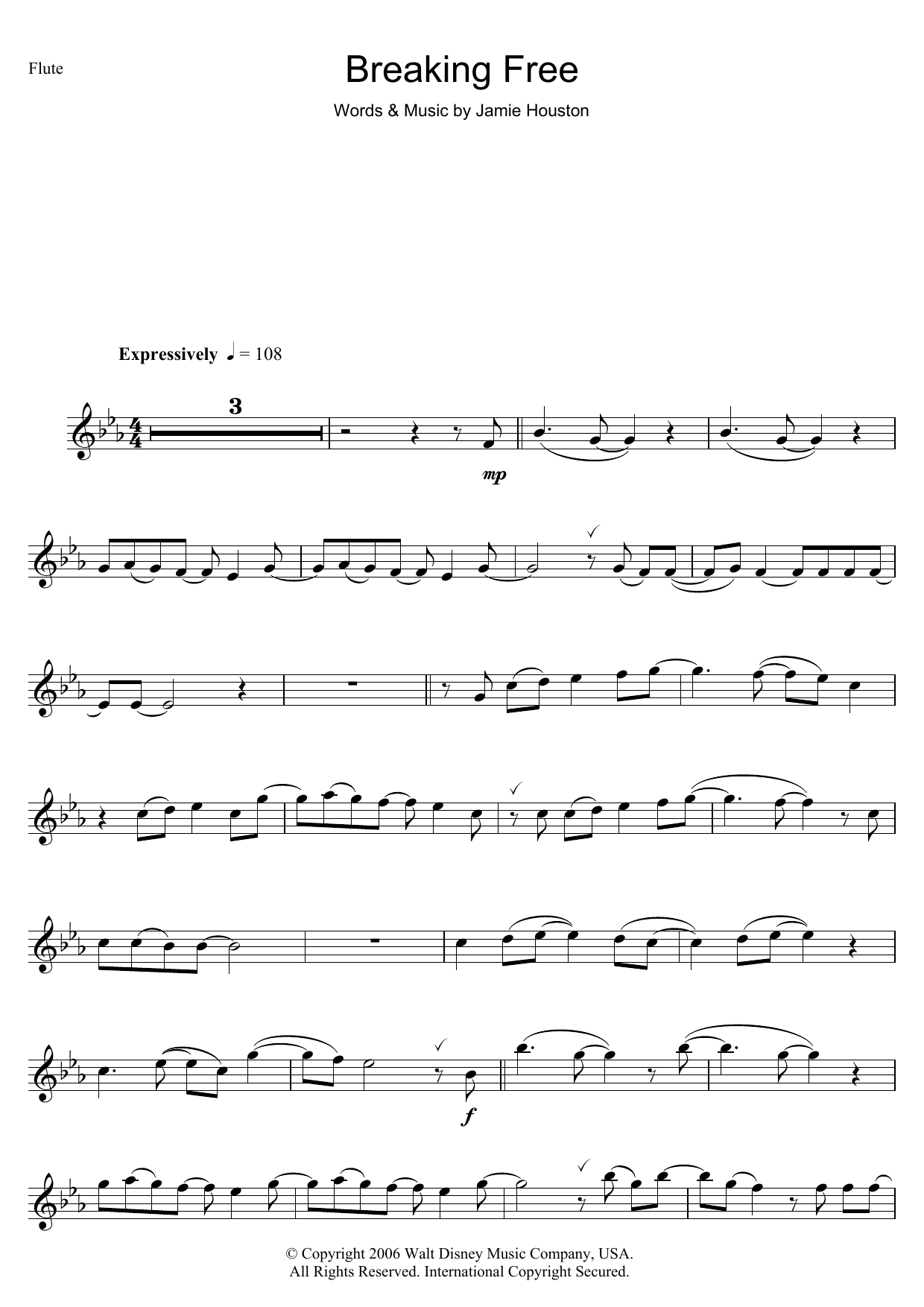 Vanessa Hudgens and Zac Efron Breaking Free (from High School Musical) sheet music notes and chords. Download Printable PDF.