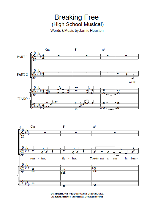 Zac Efron & Vanessa Hudgens Breaking Free (from High School Musical) sheet music notes and chords. Download Printable PDF.