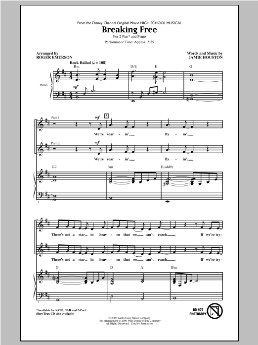 Zac Efron & Vanessa Hudgens Breaking Free (from High School Musical) (arr. Roger Emerson) sheet music notes and chords. Download Printable PDF.