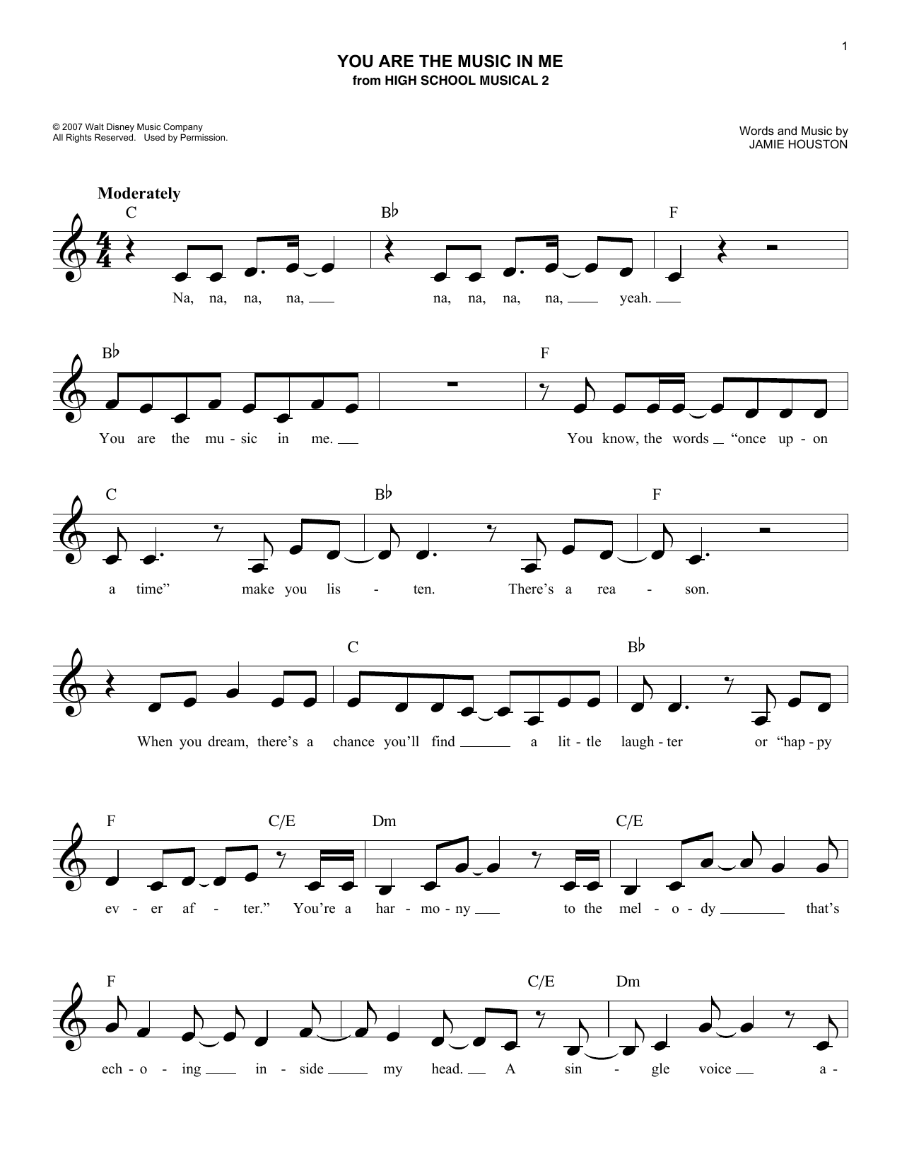 Zac Efron and Vanessa Anne Hudgens You Are The Music In Me sheet music notes and chords. Download Printable PDF.