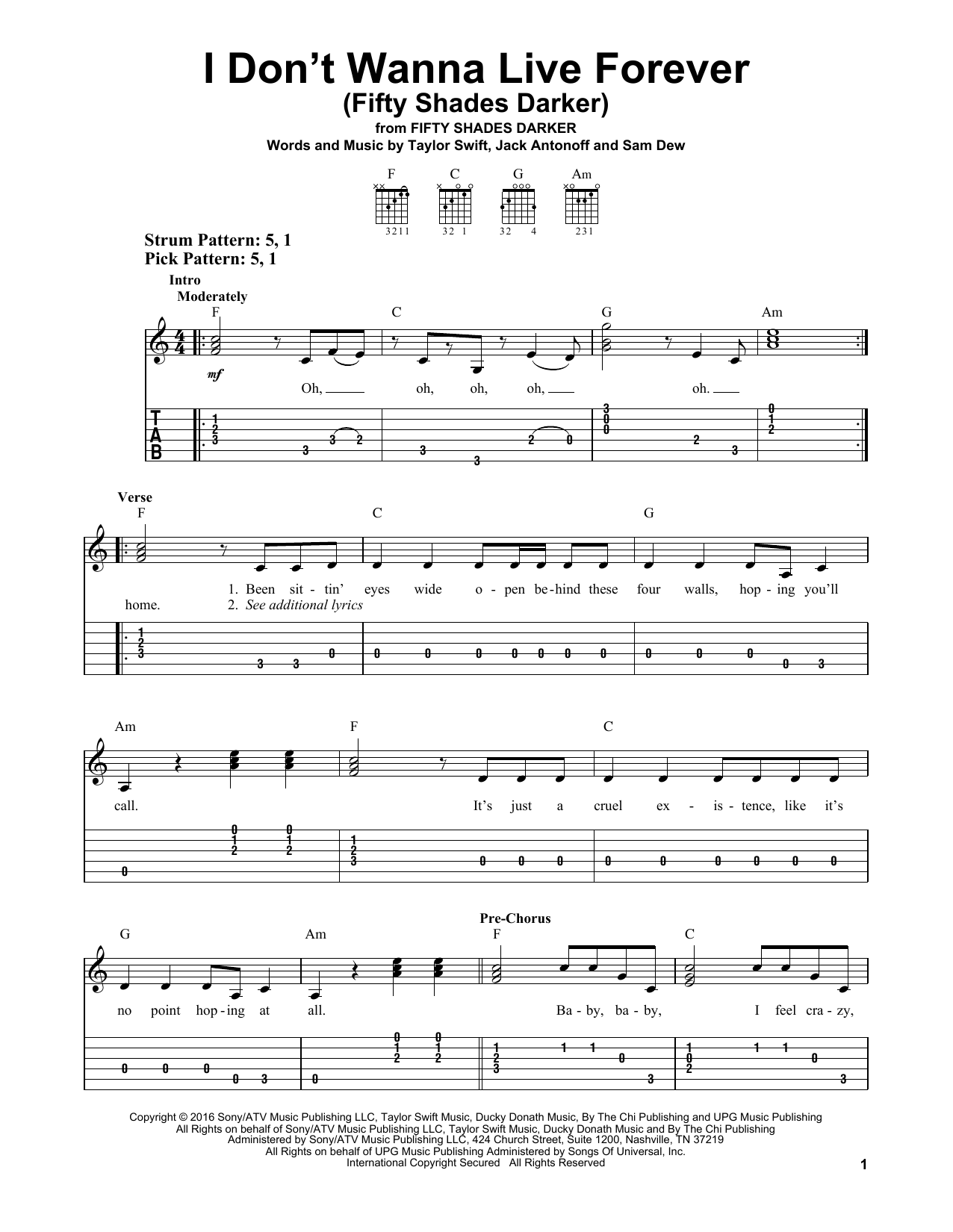 ZAYN and Taylor Swift I Don't Wanna Live Forever (Fifty Shades Darker) sheet music notes and chords