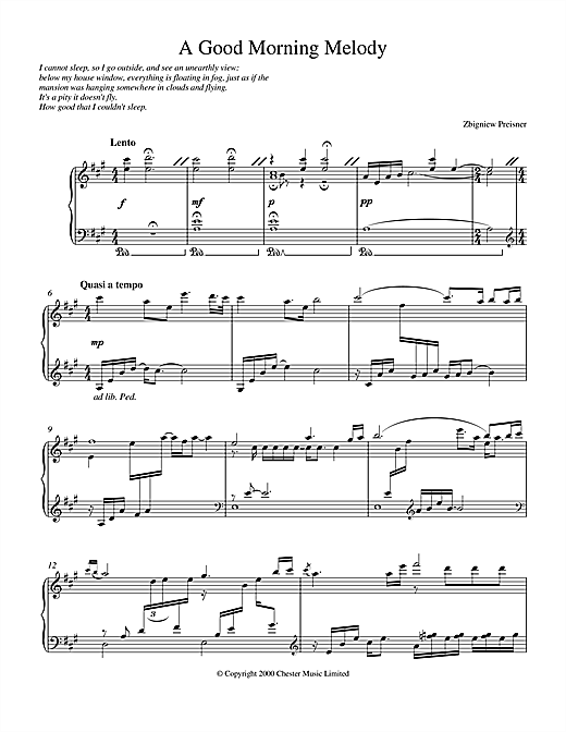 Zbigniew Preisner A Good Morning Melody sheet music notes and chords. Download Printable PDF.