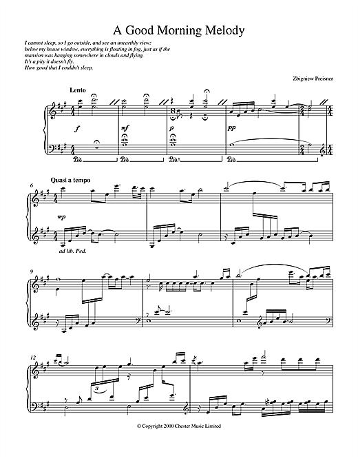 Zbigniew Preisner A Good Morning Melody sheet music notes and chords
