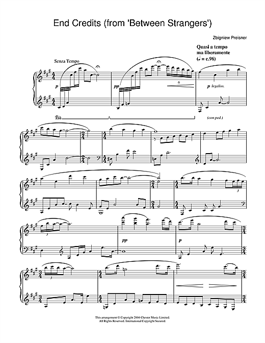 Zbigniew Preisner End Credits (from Between Strangers) sheet music notes and chords