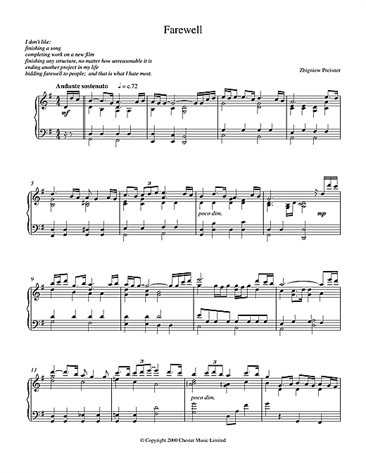 Zbigniew Preisner Farewell sheet music notes and chords