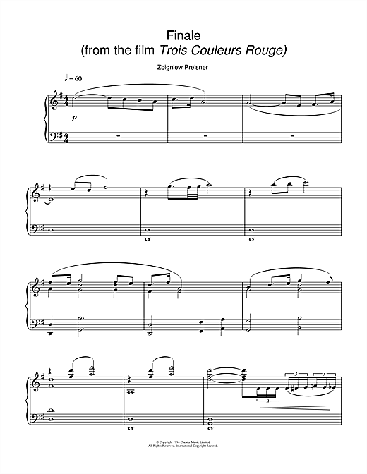 Zbigniew Preisner Finale (from the film Trois Couleurs Rouge) sheet music notes and chords. Download Printable PDF.