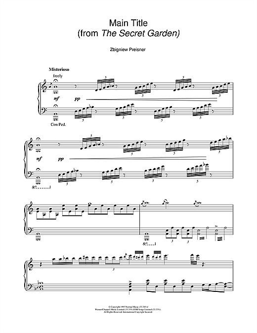 Zbigniew Preisner Main Title (from the film The Secret Garden) sheet music notes and chords. Download Printable PDF.