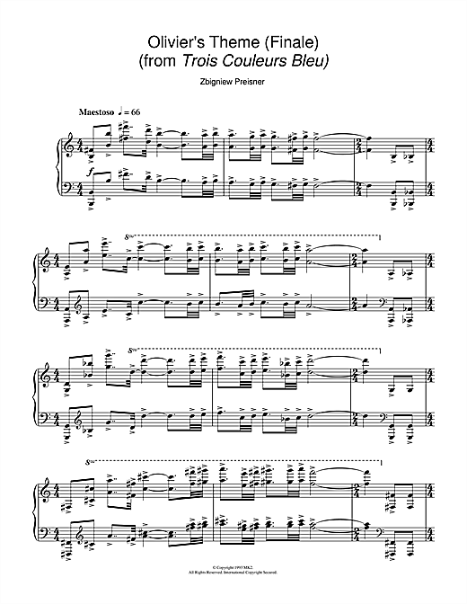 Zbigniew Preisner Olivier's Theme (Finale) (from the film Trois Couleurs Bleu) sheet music notes and chords. Download Printable PDF.