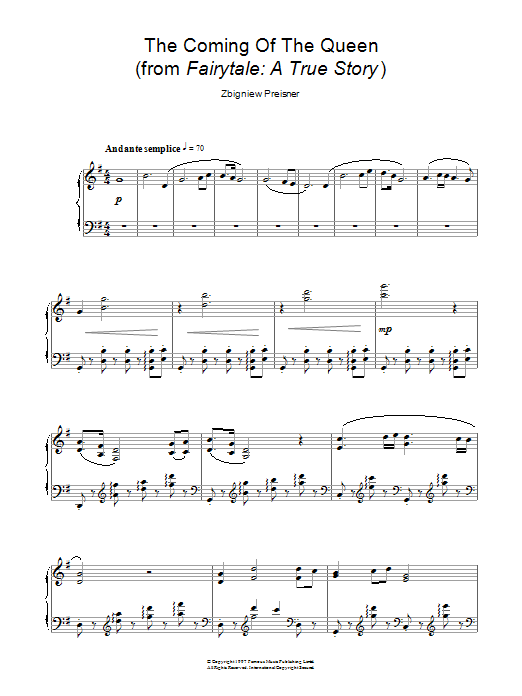 Zbigniew Preisner The Coming Of The Queen (from the film Fairytale: A True Story) sheet music notes and chords. Download Printable PDF.
