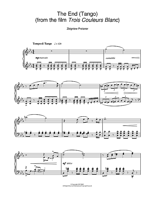 Zbigniew Preisner The End (Tango) (from the film Trois Couleurs Blanc) sheet music notes and chords