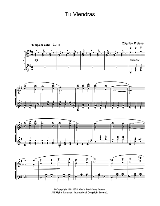 Zbigniew Preisner Tu Viendras (from La Double Vie De Veronique) sheet music notes and chords. Download Printable PDF.