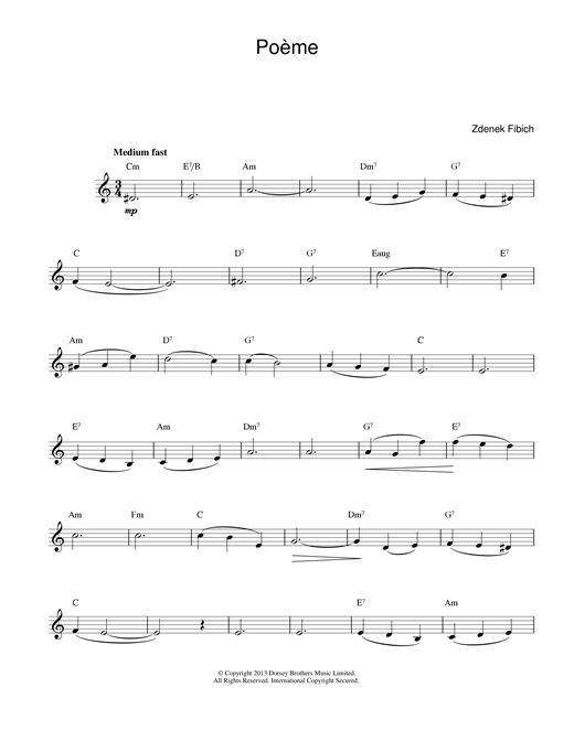 Zdenek Fibich Poeme sheet music notes and chords. Download Printable PDF.