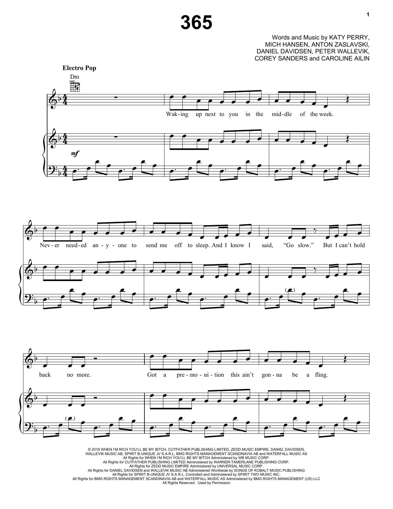 Zedd & Katy Perry 365 sheet music notes and chords. Download Printable PDF.