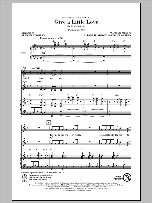 Ziggy Marley Give A Little Love sheet music notes and chords. Download Printable PDF.