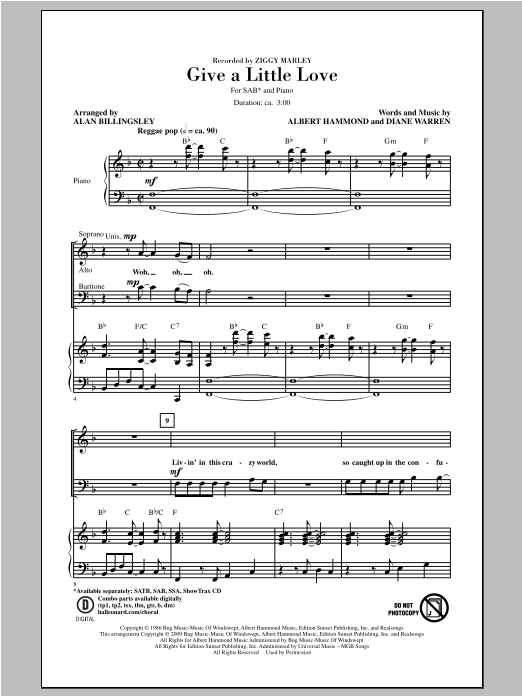 Ziggy Marley Give A Little Love (arr. Alan Billingsley) sheet music notes and chords. Download Printable PDF.
