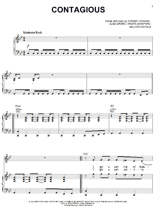 ZOEgirl Contagious sheet music notes and chords. Download Printable PDF.