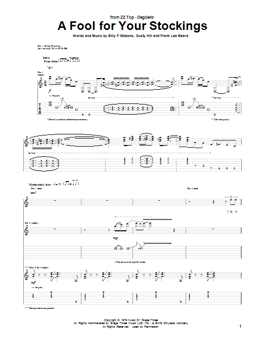 ZZ Top A Fool For Your Stockings sheet music notes and chords. Download Printable PDF.