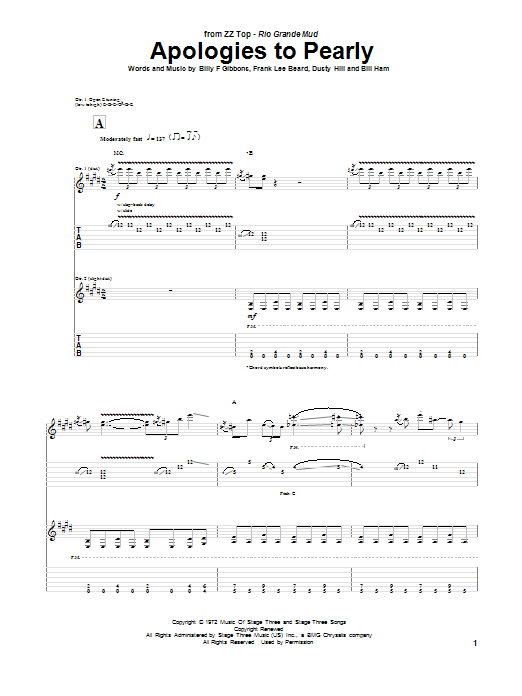 ZZ Top Apologies To Pearly sheet music notes and chords. Download Printable PDF.