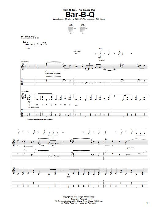 ZZ Top Bar-B-Q sheet music notes and chords. Download Printable PDF.