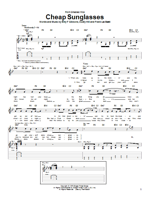 ZZ Top Cheap Sunglasses sheet music notes and chords. Download Printable PDF.