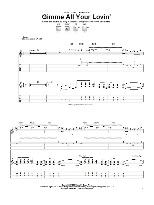 ZZ Top Gimme All Your Lovin' sheet music notes and chords. Download Printable PDF.