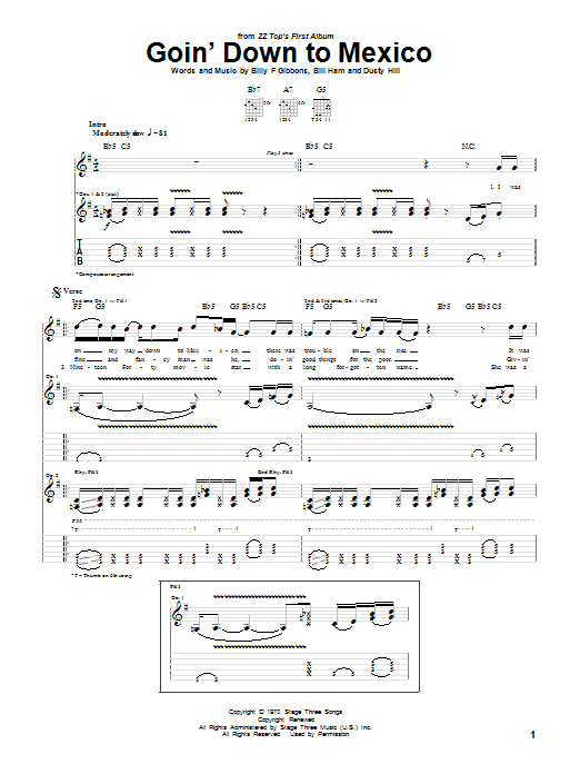 ZZ Top Goin' Down To Mexico sheet music notes and chords. Download Printable PDF.