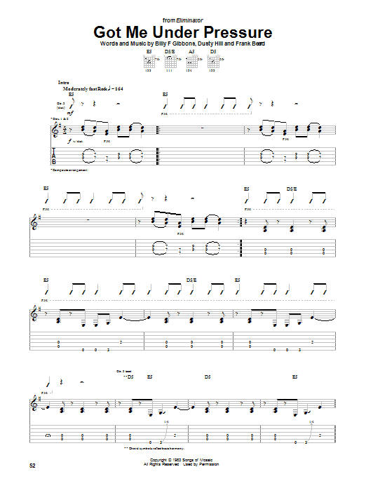 ZZ Top Got Me Under Pressure sheet music notes and chords. Download Printable PDF.