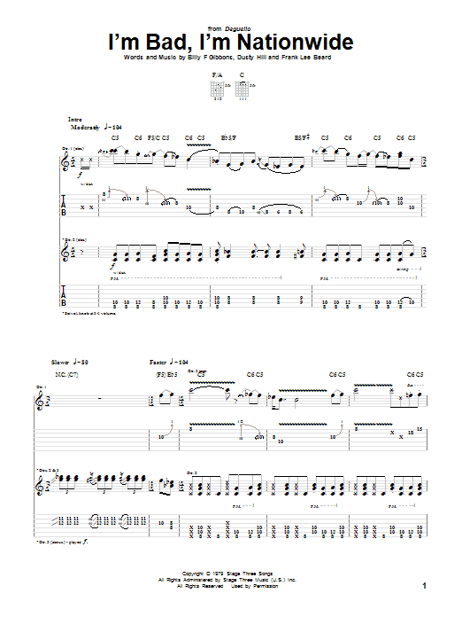 ZZ Top I'm Bad, I'm Nationwide sheet music notes and chords. Download Printable PDF.