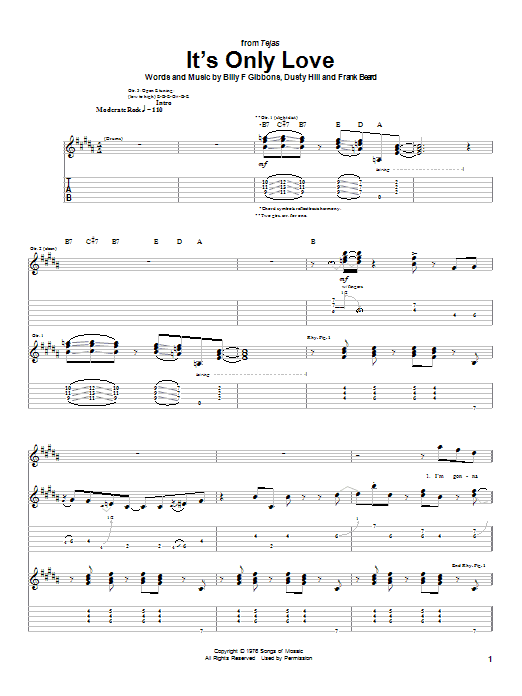 ZZ Top It's Only Love sheet music notes and chords. Download Printable PDF.
