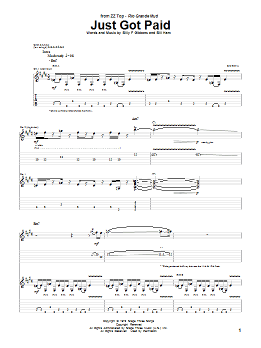 ZZ Top Just Got Paid sheet music notes and chords. Download Printable PDF.