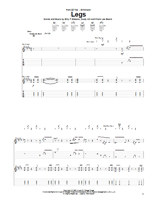 ZZ Top Legs sheet music notes and chords. Download Printable PDF.