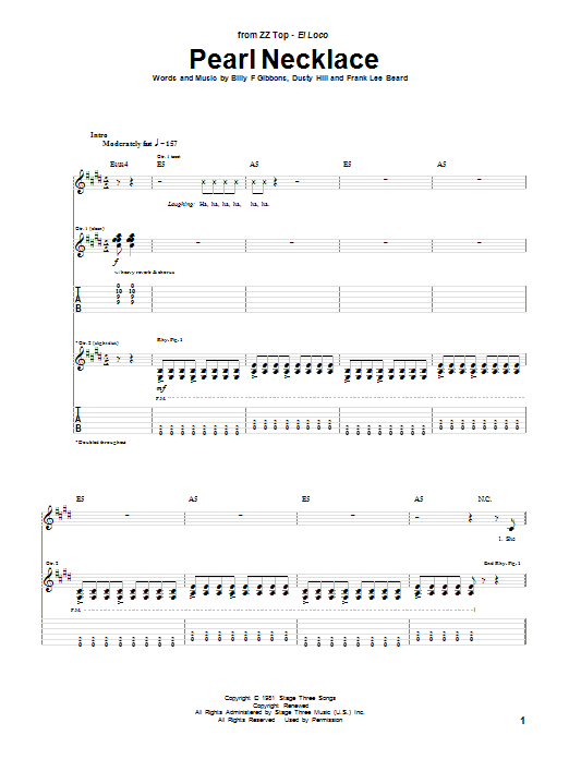 ZZ Top Pearl Necklace sheet music notes and chords. Download Printable PDF.