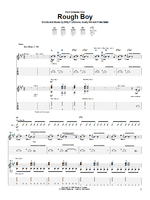 ZZ Top Rough Boy sheet music notes and chords. Download Printable PDF.