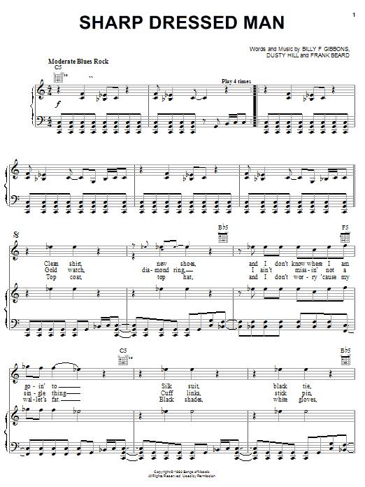 Zz Top Sharp Dressed Man Sheet Music Pdf Notes Chords Rock Score Guitar Tab Download Printable Sku 22525