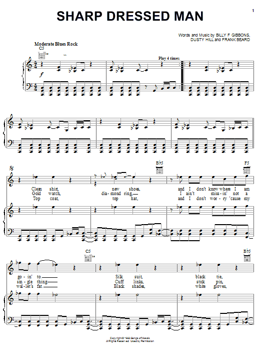 ZZ Top Sharp Dressed Man sheet music notes and chords. Download Printable PDF.