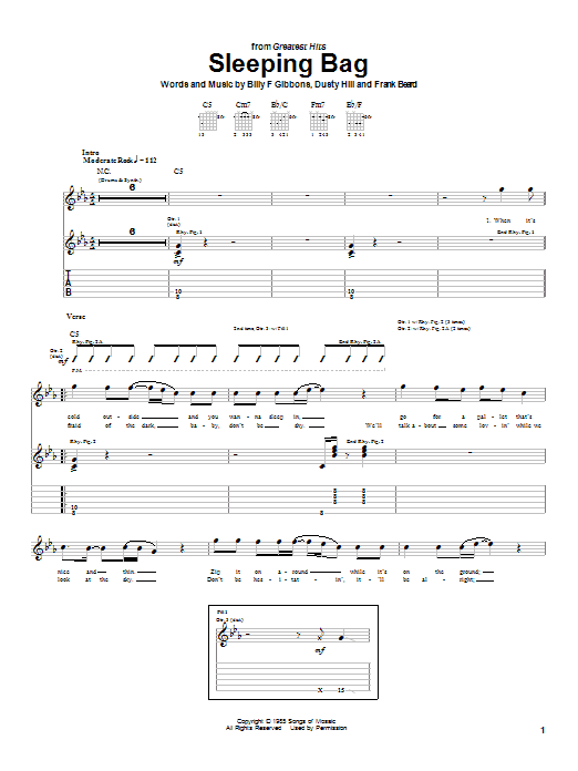 ZZ Top Sleeping Bag sheet music notes and chords. Download Printable PDF.